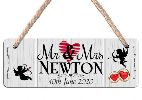 Personalised Mr & Mrs Wedding Hanging Door Sign Plaque N24